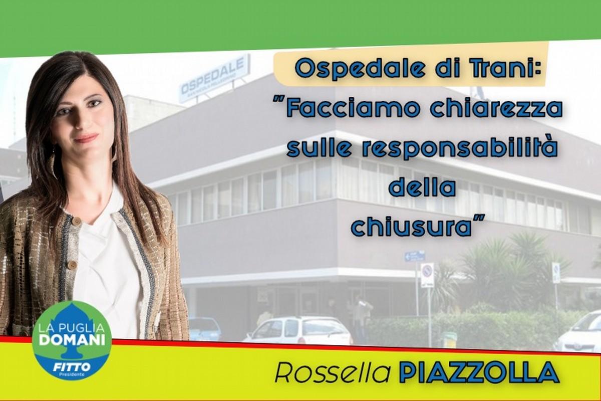 Ospedale di Trani, Piazzolla: «Facciamo chiarezza sulle responsabilità della chiusura»