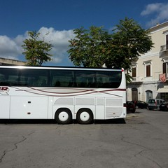 Bus turistico in sosta in piazza Plebiscito
