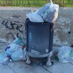 Cestino pieno di rifiuti a Mongelli