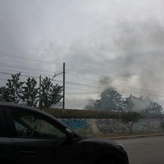Incendio nei pressi della ferrovia