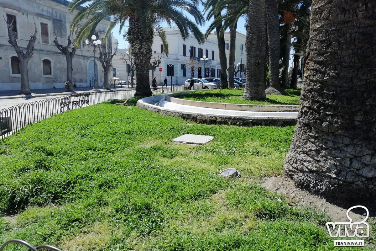 Vegetazione incolta nei giardini pubblici di Trani