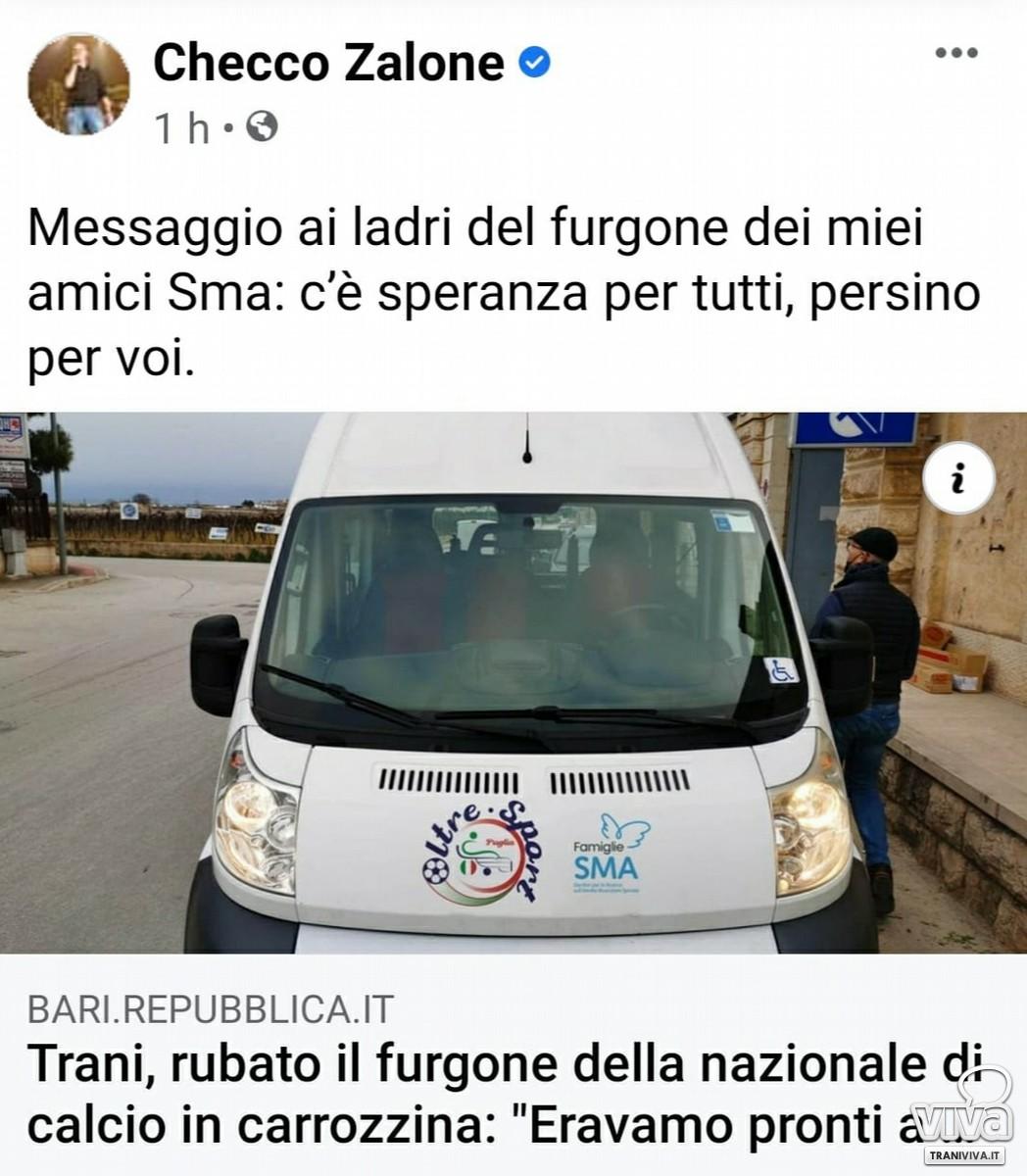 Checco Zalone commenta la notizia del furto