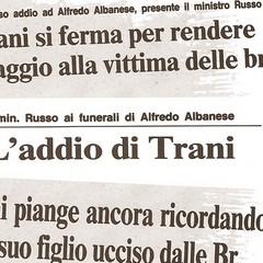 Morte di Alfredo Albanese, rassegna stampa