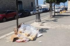 Rifiuti abbandonati in piazza Plebiscito nella Trani bella a metà