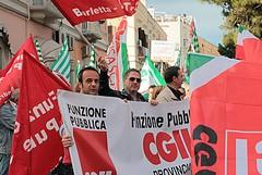 Manifestazione sindacale a Trani