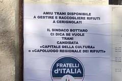 Operazione Amiu-Sia, in città compaiono i manifesti di Fratelli d'Italia: «Trani capitale della cultura o capoluogo regionale dei rifiuti?»