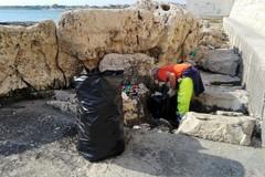 Pulizia spiagge, operatori Amiu al lavoro al Monastero