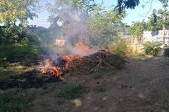 Incendio nel giardino dell'ospedale: in fiamme rami e sterpaglie