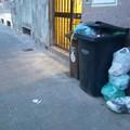 Bidoni stracolmi in via Pietro Palagano: altro che porta a porta