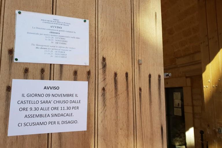 Chiuso per due ore il Castello di Trani: prosegue l'agitazione del personale