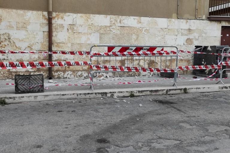 Strada transennata in via Giacinto Francia
