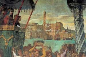Raffigurazione del porto di Trani sul sipario del teatro